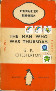 The Man Who Was Thursday, 1937 edition, decorated with stickers